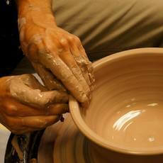 Student in Pottery on the Wheel Thursday workshop at First City Art Center